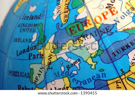Europe map on small terrestrial globe - stock photo