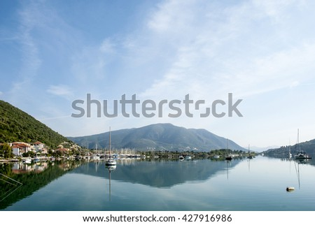 Europe,  Mediterranean Sea, islands of Greece. Yachts in a bay at the island of Corfu.