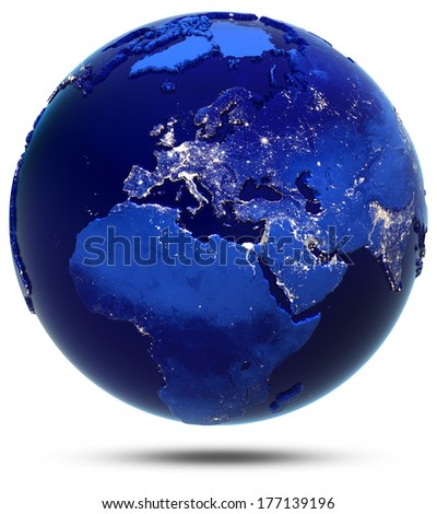 Europe, Middle East and Africa continent and countries. Elements of this image furnished by NASA - stock photo