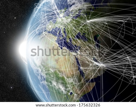 Europe, Middle East and Africa region with network representing major air traffic routes. Elements of this image furnished by NASA. - stock photo