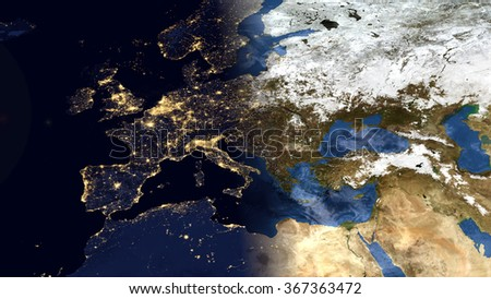 Europe Morning Space View - High Resolution Map Composition (Elements of this image furnished by NASA) - stock photo