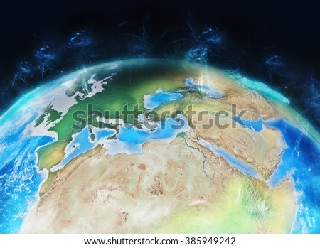 Europe & North Africa - Energized Globe Composition (Elements of this image furnished by NASA) - stock photo