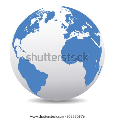 Europe, North and South America, Africa Global World - Raster Version - Map Icon of the world in Globe - stock photo