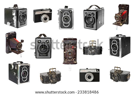 EUROPE,OCTOBER,13:Old photo cameras of the last century (Europe,USSR)- Brownie,Box-Tengor,Soho Cadet,Trioplan,Smena were famous and popular in the world (now is discontinued).Europe,on October 13,2014 - stock photo