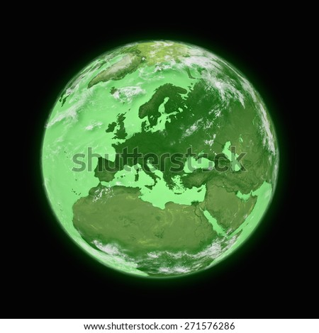 Europe on blue planet Earth isolated on black background. Highly detailed planet surface. Elements of this image furnished by NASA. - stock photo