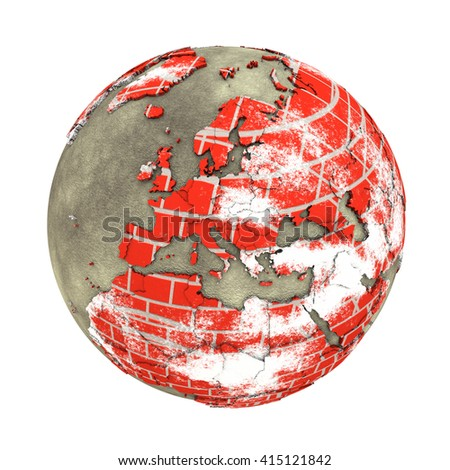 Europe on brick wall model of planet Earth with continents made of red bricks and oceans of wet concrete. Concept of global construction. 3D illustration isolated on white background. - stock photo
