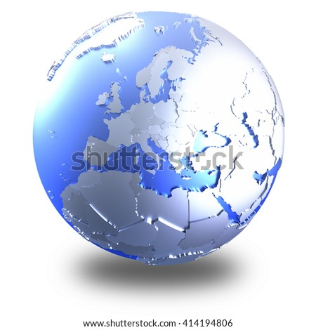 Europe on bright metallic model of planet Earth with blue ocean and shiny embossed continents with visible country borders. 3D illustration isolated on white background with shadow. - stock photo