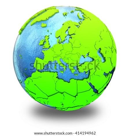 Europe on elegant green 3D model of planet Earth with realistic watery blue ocean and green continents with visible country borders. 3D illustration isolated on white background with shadow.