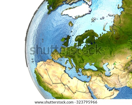 Europe on highly detailed planet Earth with embossed continents and country borders. Elements of this image furnished by NASA. - stock photo