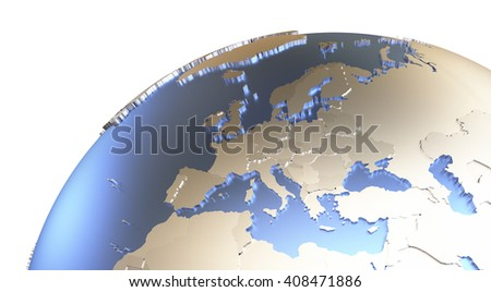 Europe on metallic model of planet Earth with embossed continents and visible country borders. 3D rendering. - stock photo