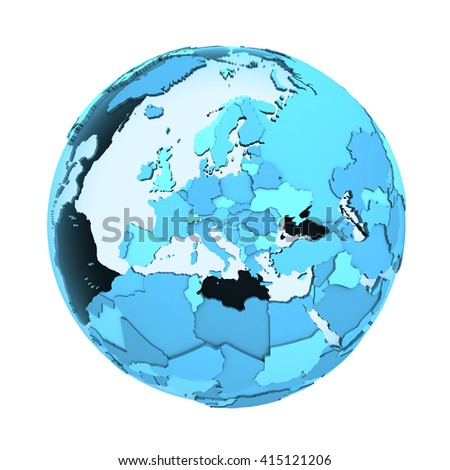Europe on translucent model of planet Earth with visible continents blue shaded countries. 3D illustration isolated on white background. - stock photo