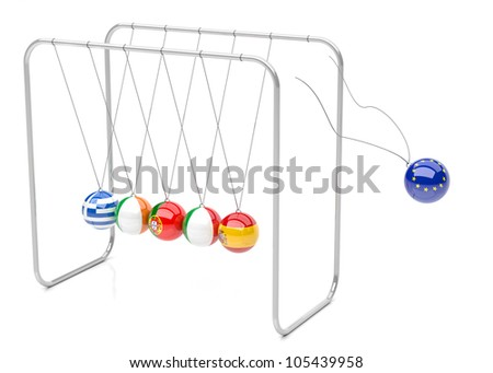Europe political crisis concept in 3d. Newton cradle with european countries flags.