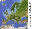 Europe. Shaded relief map with  major urban areas. Colored according to vegetation.  Data source: NASA - stock vector