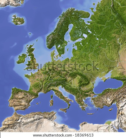 Europe. Shaded relief map with  major urban areas. Colored according to vegetation.  Data source: NASA - stock photo