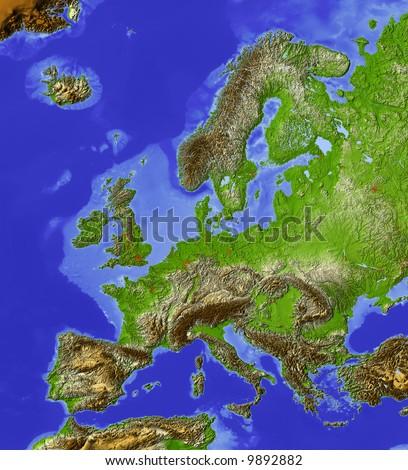 Europe Map Terrain Stock Images RoyaltyFree Images Vectors - Europe terrain map