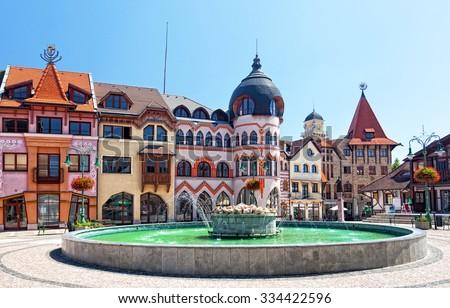 Europe square in Komarno. Slovakia - stock photo