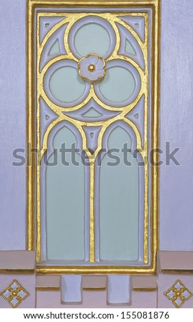 Europe style wood carved in temple. - stock photo