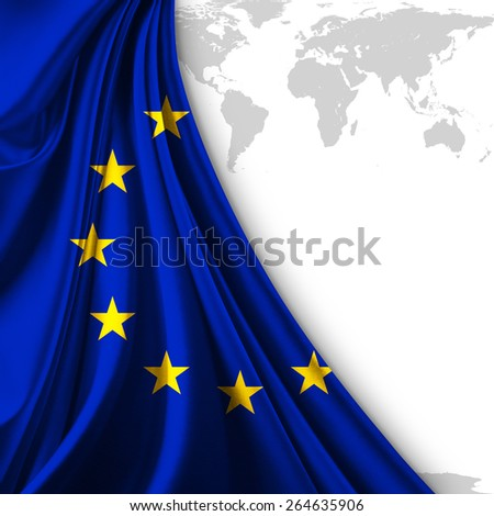 Europe union flag and world map background - stock photo