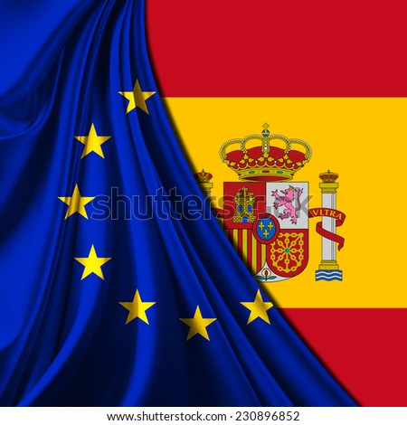 Europe union flag fabric and Spain flag background - stock photo