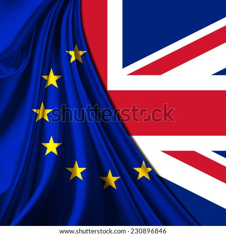 Europe union flag fabric and United Kingdom flag background
