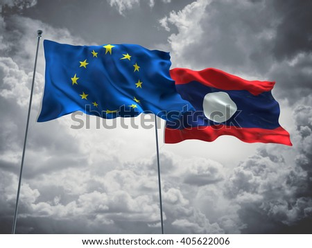 Europe Union & Laos Flags are waving in the sky with dark clouds