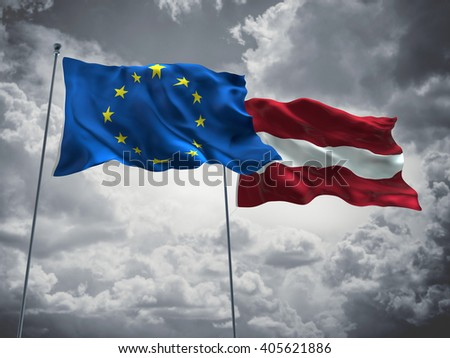 Europe Union & Latvia Flags are waving in the sky with dark clouds