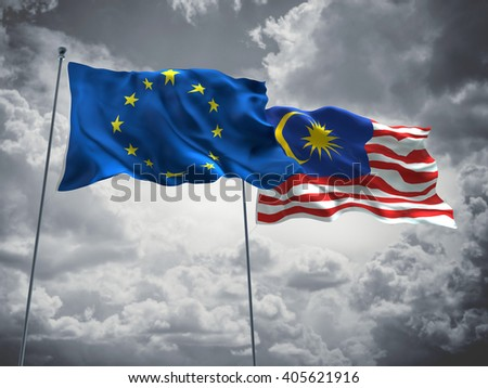 Europe Union & Malaysia Flags are waving in the sky with dark clouds
