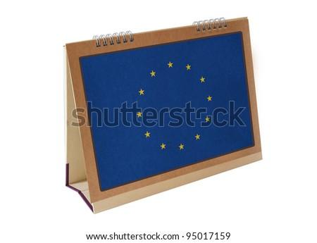 Europe Union table flag isolated - stock photo