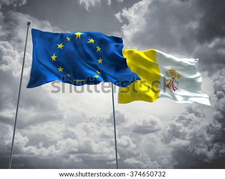 Europe Union & Vatican Flags are waving in the sky with dark clouds