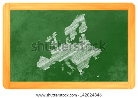 Europe with countries drawn on a blackboard - stock photo