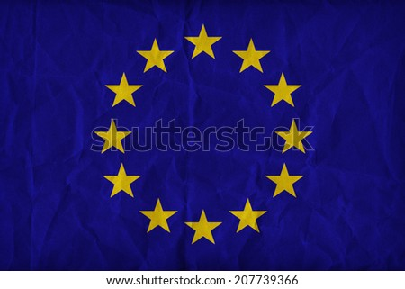 Europe zone flag pattern on the paper texture ,retro vintage style