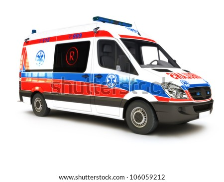 European Ambulance on a white background, part of a first responder series - stock photo