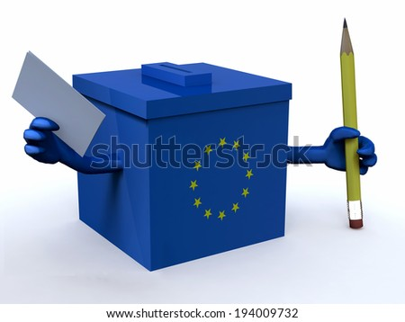 european ballot box with arms, pencil and voting paper, 3d illustration - stock photo