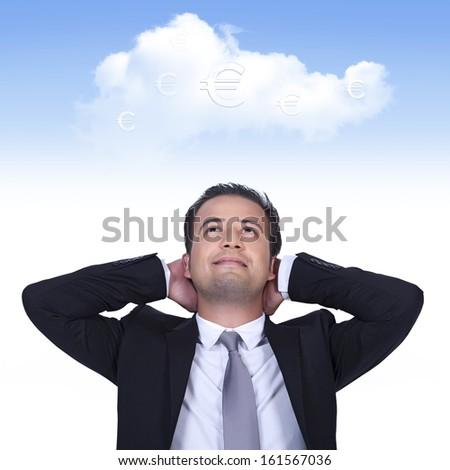 European businessman is thinking profitable cloud business - stock photo