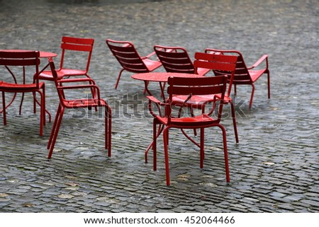 European city cafe with vacant table and chair waiting for the client - stock photo