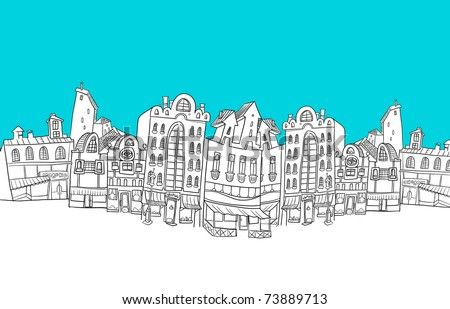 European City of stylized cartoon - stock photo