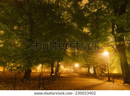 European city park with benches at night in autumn - stock photo