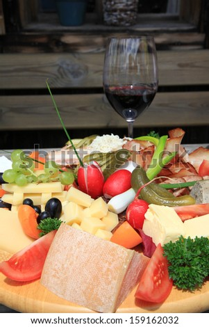European Cold cuts and cheese platter (Jausen Platte, Brotzeit Platte) - stock photo