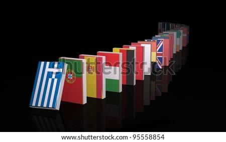 European crisis 3d domino - stock photo