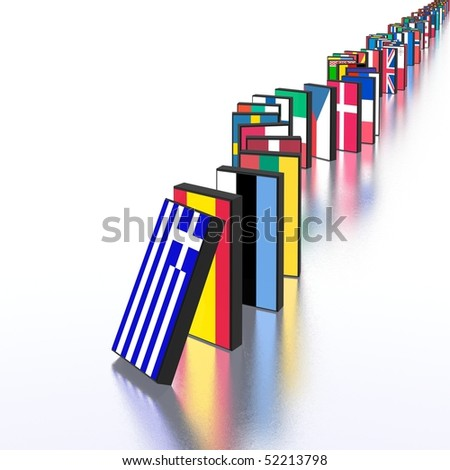 european crisis domino effect - stock photo