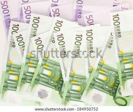 European Currency, 100 and 500 euro - stock photo
