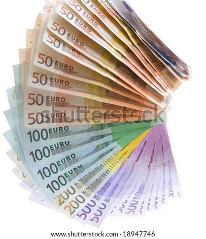 European currency banknotes on white background - stock photo