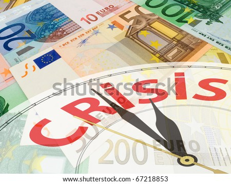 European currency collage - multicolored euro banknotes background - crisis concept - stock photo