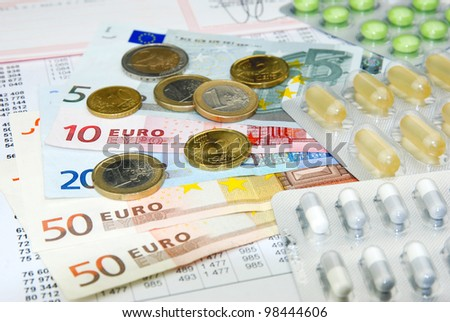 european currency euro and health care system - stock photo