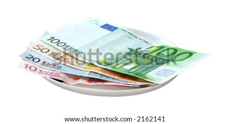 European currency on the plate.