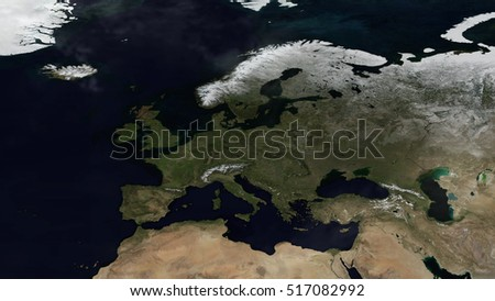 European Day Map Space View (Elements of this image furnished by NASA)