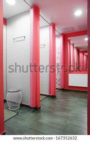 european dressing room interior in modern store - stock photo