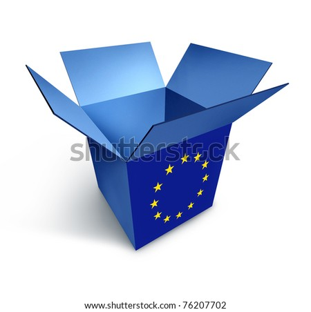 European economy symbol represented by a blue box with the flag of Europe showing the concept of consumer confidence and tourist shopping industry. - stock photo