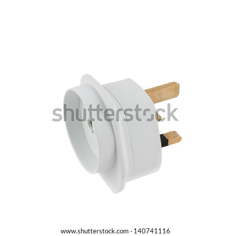 European EU to UK converter plug travel adapter isolated over white background - stock photo