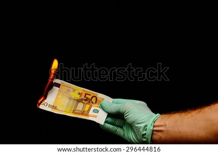 European Euro Money Banknote Currency and Right Hand - stock photo